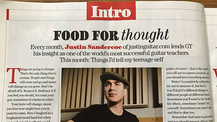 """Justin's Guitar Techniques Magazine Column """"Food For Thought"""" since 2015!"""